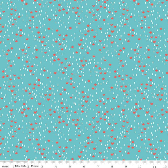 Red Riding Hood Meadows Teal - Little Red In The Woods by Riley Blake - 100% Cotton Fabric