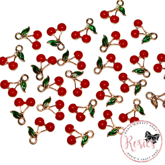 Cherry Mini Enamel Charm 13mm x 9mm