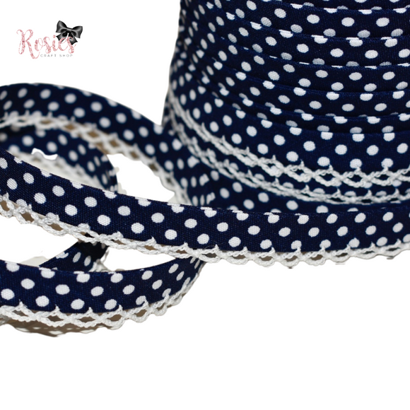 12mm Navy Blue with White Polka Dots Pre-Folded Bias Binding with Scallop Lace Edge