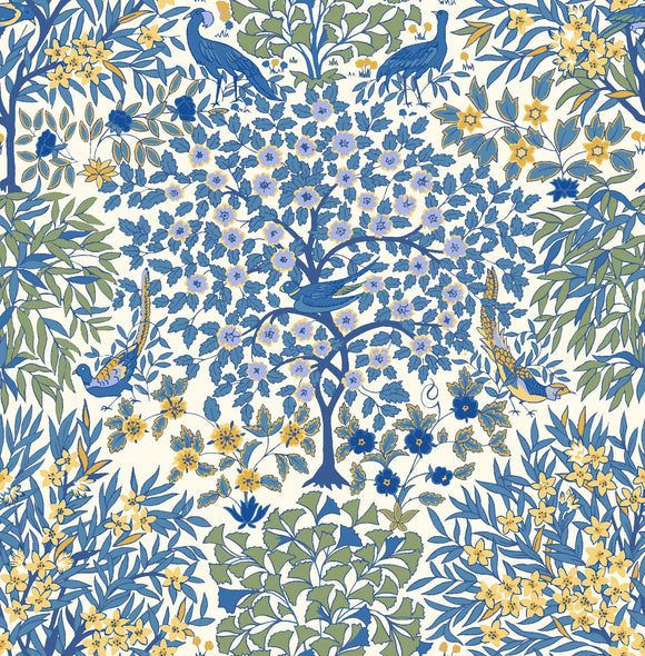 Pheasant Forest in Blue & Yellow by Liberty - The Orchard Garden - Rosie's Craft Shop Ltd
