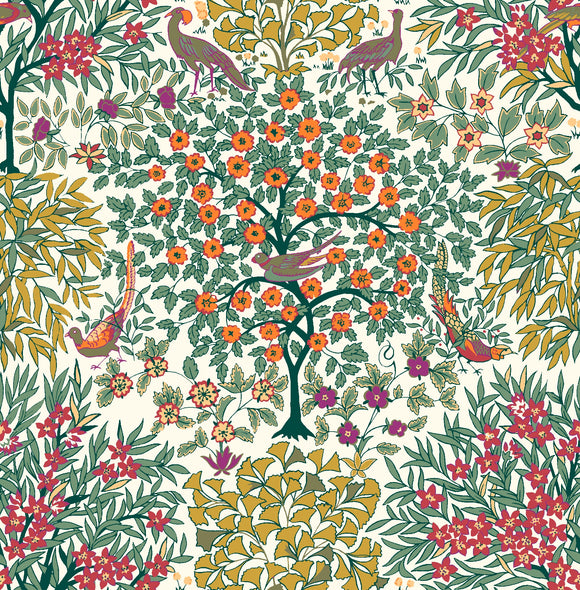 Pheasant Forest in Orange & Green by Liberty - The Orchard Garden - Rosie's Craft Shop Ltd