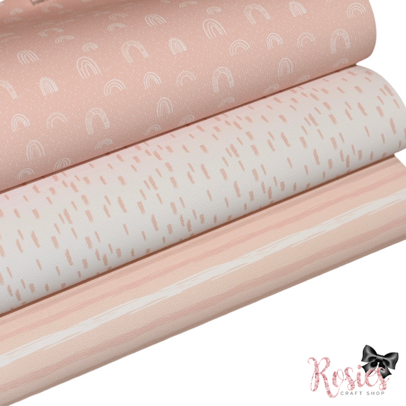 Pastel Printed Bow Fabric Canvas - Pink Bundle 3