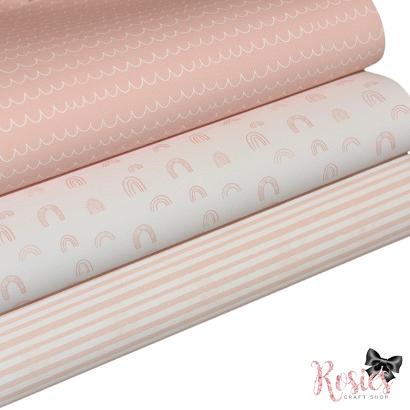 Pastel Printed Bow Fabric Canvas - Pink Bundle 4