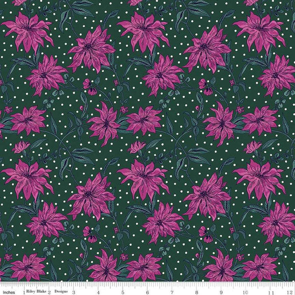 Poinsettia Pink/Green - Liberty Season's Greetings Collection
