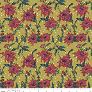 Poinsettia Red/Mustard - Liberty Season's Greetings Collection