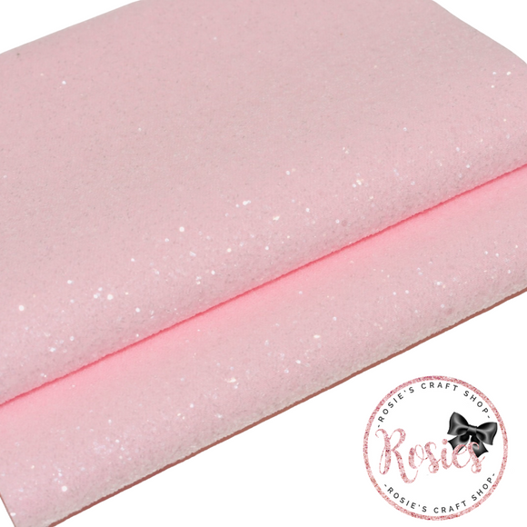 Powder Pink Sugar Frosted Chunky Glitter Fabric - Luxury Core Collection