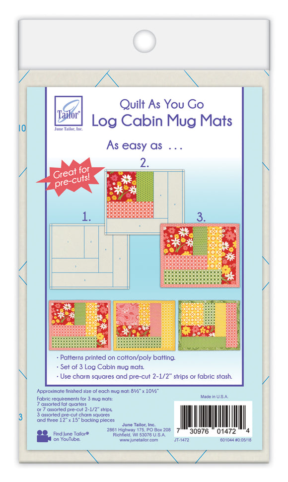 Log Cabin Mug Mats by June Tailor Quilt As You Go