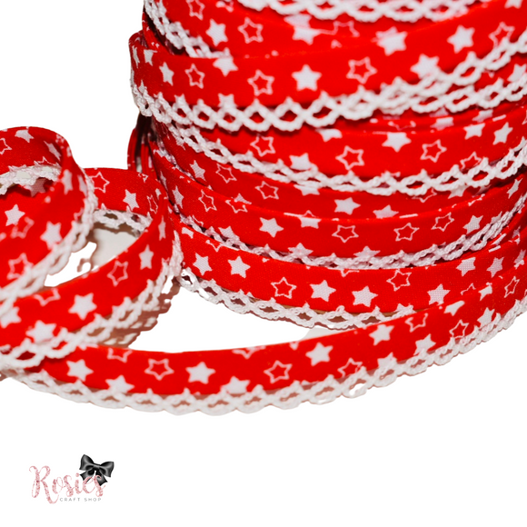 12mm Red with White Stars Pre-Folded Bias Binding with Scallop Lace Edge