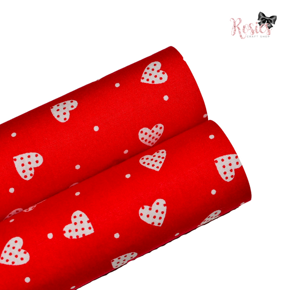 Red with White Hearts Fabric Felt
