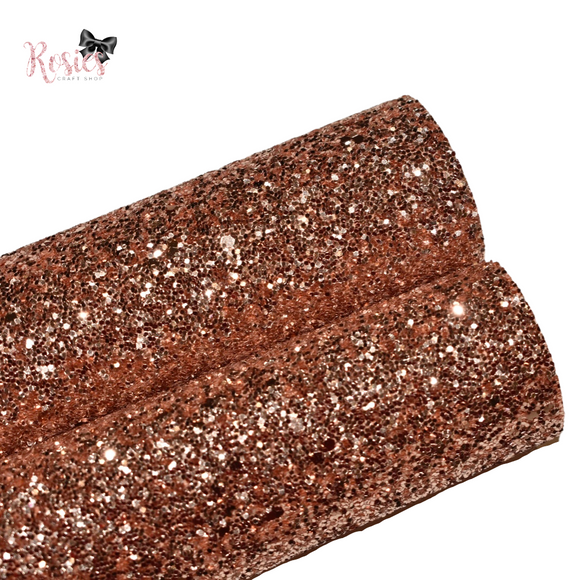 Rose Gold Chunky Glitter Fabric - Luxury Core Collection