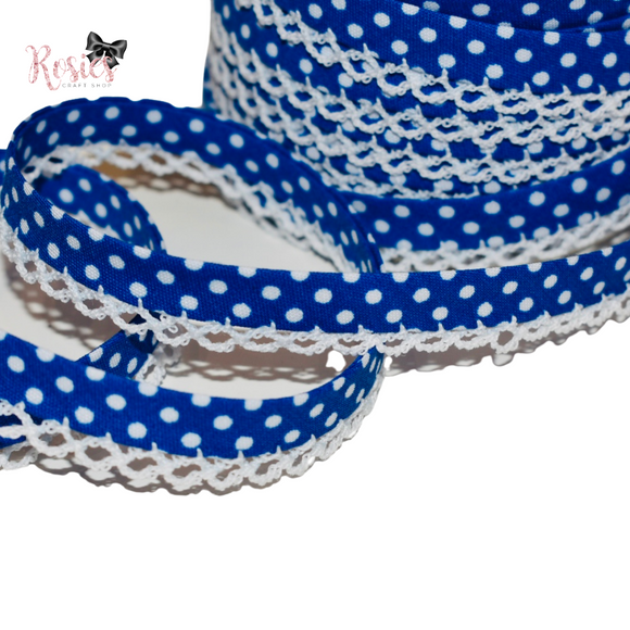 12mm Royal Blue with White Polka Dots Pre-Folded Bias Binding with Scallop Lace Edge