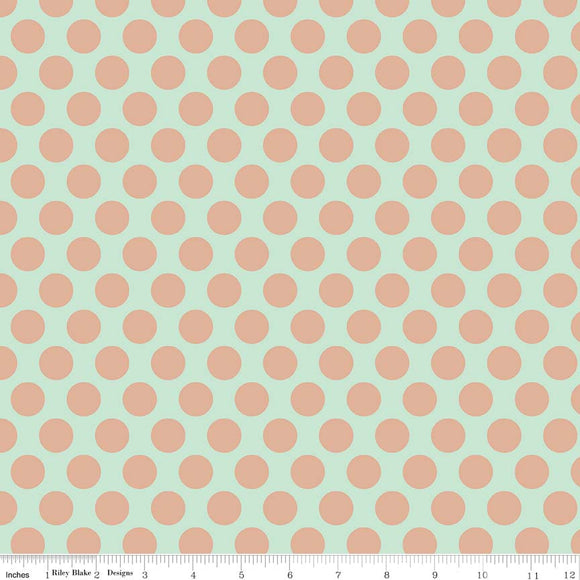Mint Gold Sparkle Dots - Glam Girls by Riley Blake Cotton Fabric