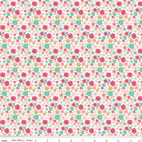 Floral White Gold Sparkle - Glam Girls - Riley Blake Cotton Fabric