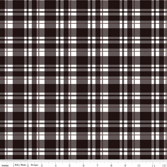 Black Tartan Plaid Gold Sparkle - Glam Girls - Riley Blake