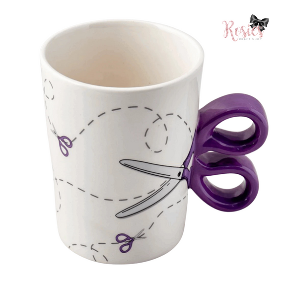 Scissor Handle Novelty Ceramic Mug