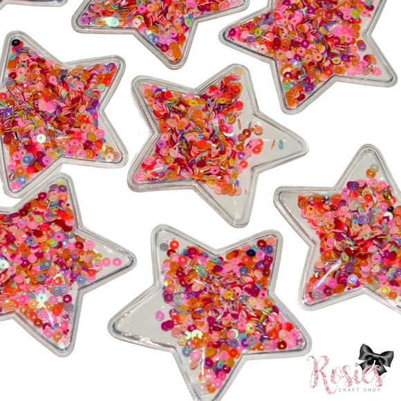 Star Shaped Sequin Shaker Flat Backed Embellishment