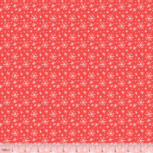 Snowflake Blizzard on Red Fabric Felt - Rosie's Craft Shop Ltd