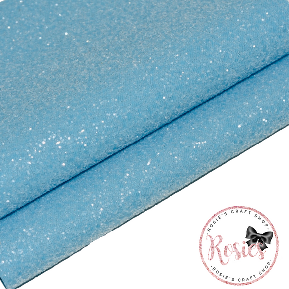 Powder Blue Sugar Frosted Chunky Glitter Fabric - Luxury Core Collection