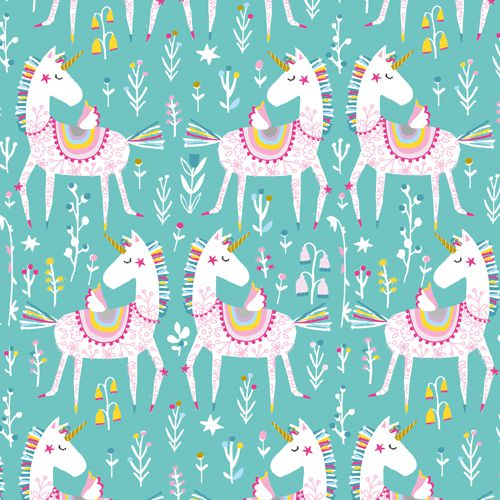 Unicorns on Blue - Playtime by Dashwood Studio 100% Cotton Fabric - Rosie's Craft Shop Ltd