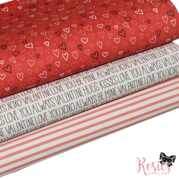 Valentine's Printed Bow Fabric Canvas - Be Mine Bundle 2