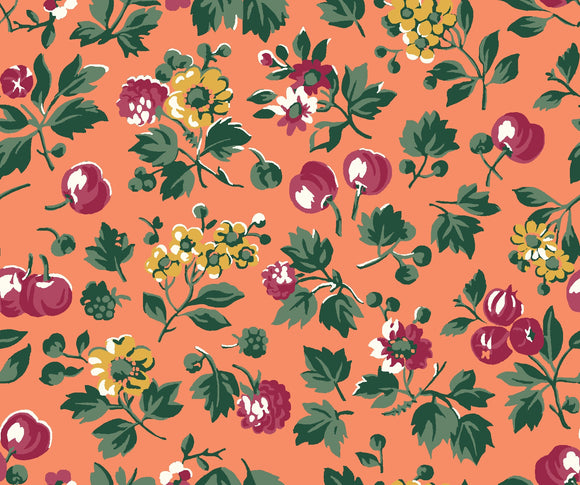 Wild Cherry in Orange by Liberty - The Orchard Garden - Rosie's Craft Shop Ltd
