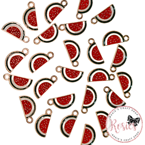 Watermelon Slice Enamel Charm 17mm x 8mm