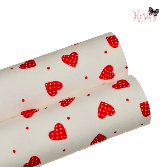White with Red Hearts Fabric Felt