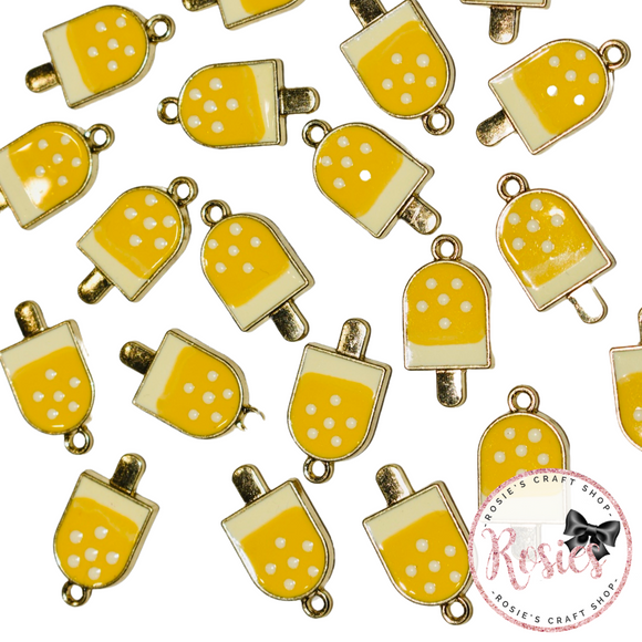 Yellow Lollipop Enamel Charm 19mm x 12mm