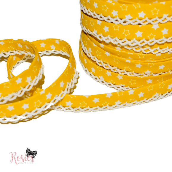 12mm Yellow with White Stars Pre-Folded Bias Binding with Scallop Lace Edge