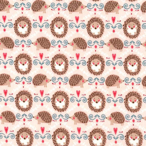 Hedgehogs and Hearts on Pink - Hedge A Little Closer by Michael Miller - 100% Cotton Fabric