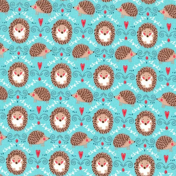 Hedgehogs and Hearts on Turquoise - Hedge A Little Closer by Michael Miller - 100% Cotton Fabric