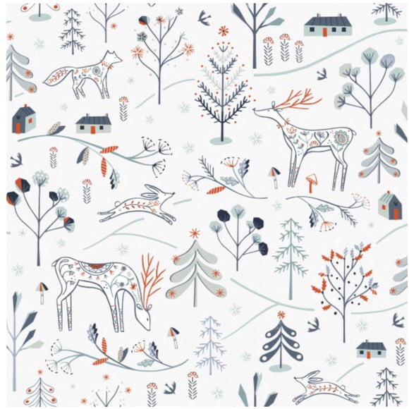 Woodland Main - Winterfold by Dashwood Studio 100% Cotton Fabric - Rosie's Craft Shop Ltd