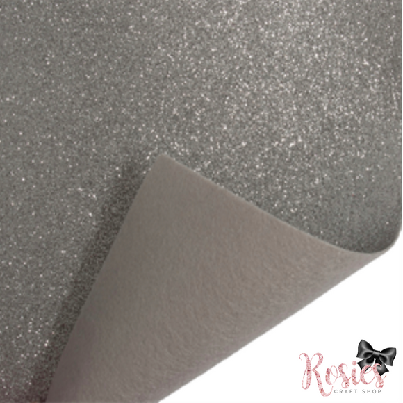 Silver Fine Glitter Acrylic Felt Fabric - Rosie's Craft Shop Ltd
