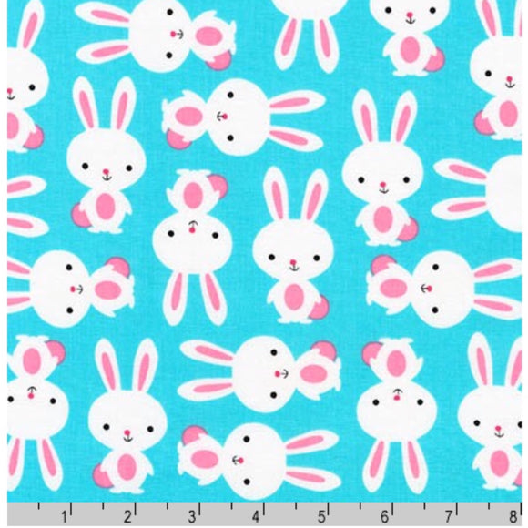 Aqua Bunny Rabbit - Urban Zoologie By Robert Kaufman - 100% Cotton Fabric - Rosie's Craft Shop Ltd
