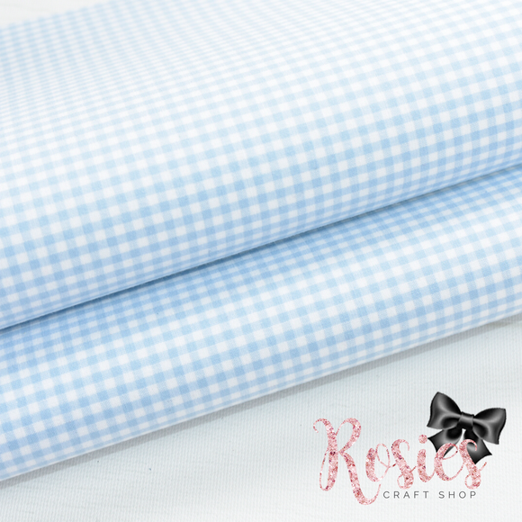 Light Blue Gingham Mini Check Fabric Felt