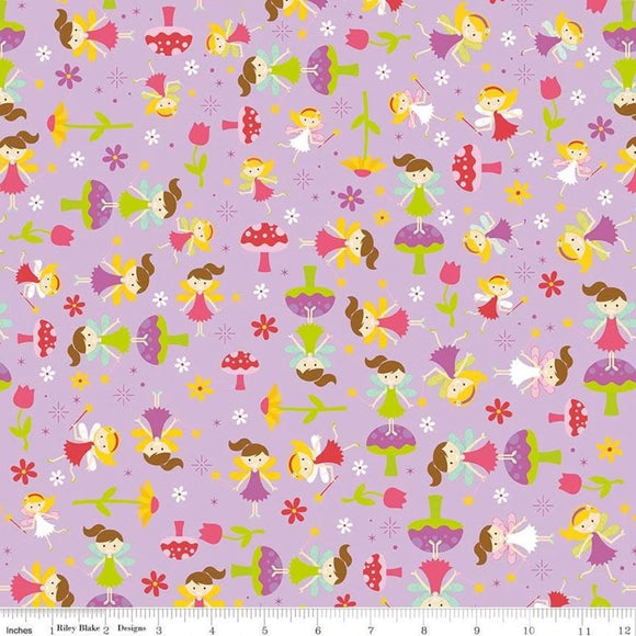 Fairy Flower Purple - Fairy Garden - Riley Blake Cotton Fabric