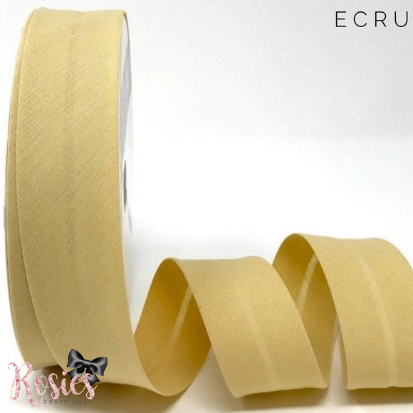 30mm Ecru Plain Polycotton Bias Binding - Rosie's Craft Shop Ltd