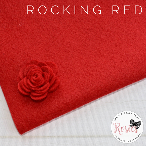 Rocking Red Wool Blend Felt