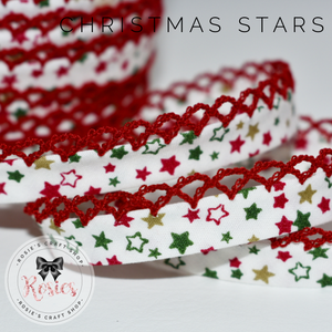 12mm Christmas Stars Pre-Folded Bias Binding with Scallop Lace Edge - Rosie's Craft Shop Ltd