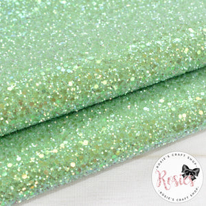 Apple Green Frosted Chunky Glitter Fabric - Luxury Core Collection - Rosie's Craft Shop Ltd