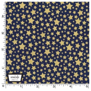 Navy Blue Gold Metallic Stars - Starbright by Michael Miller 100% Cotton Fabric or Fabric Felt - Rosie's Craft Shop Ltd