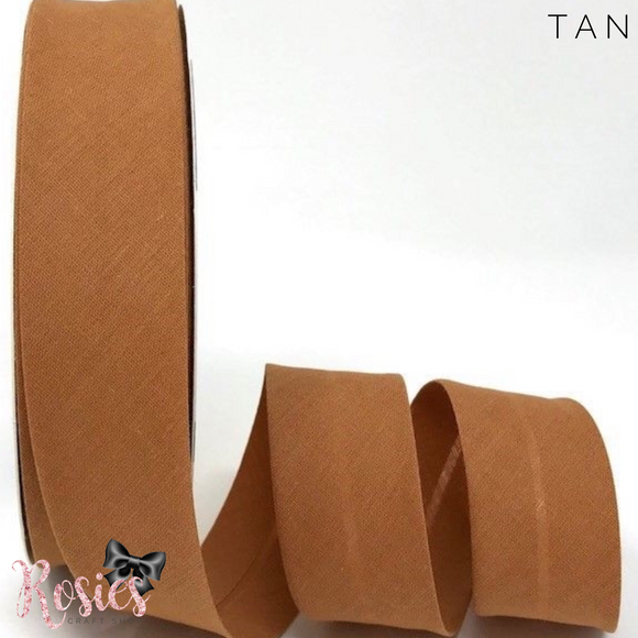 30mm Tan Plain Polycotton Bias Binding - Rosie's Craft Shop Ltd