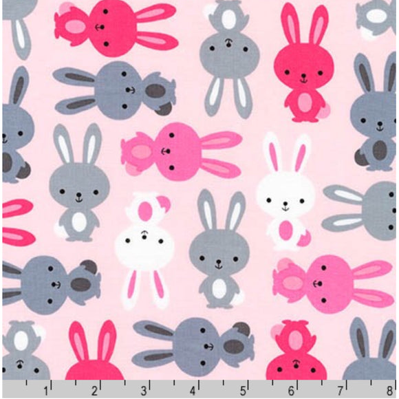 Pink Bunny Rabbit - Urban Zoologie By Robert Kaufman - 100% Cotton Fabric - Rosie's Craft Shop Ltd