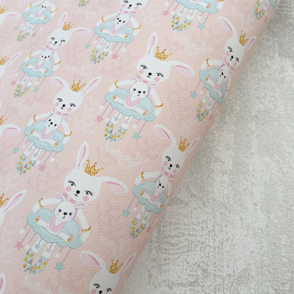 Princess Bunny Rabbits Premium Printed Fabric - Cotton Weave - Rosie's Craft Shop Ltd