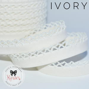 12mm Ivory Plain Pre-Folded Bias Binding with Scallop Lace Edge - Rosie's Craft Shop Ltd