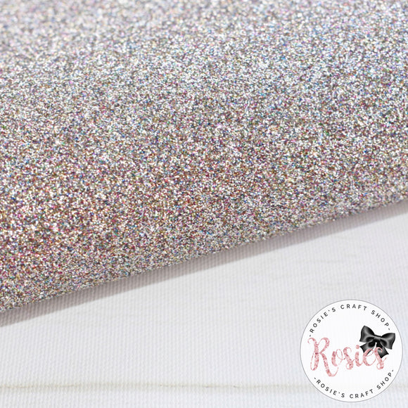 Rainbow Silver Premium Fine Glitter Topped Wool Felt - Rosie's Craft Shop Ltd