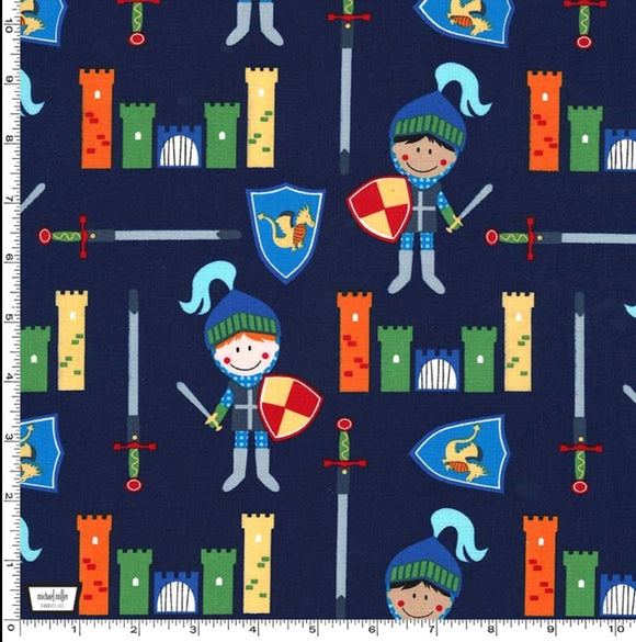Navy Knights and Castles - Good Knight by Michael Miller - 100% Cotton Fabric - Rosie's Craft Shop Ltd