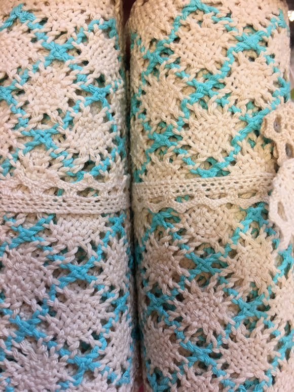 Blue And Cream Patterned Cotton Lace Trim Roll
