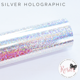 Silver Holographic Sparkle Iron On Vinyl HTV - Rosie's Craft Shop Ltd