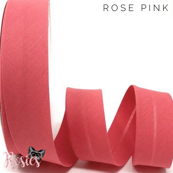 30mm Rose Pink Plain Polycotton Bias Binding - Rosie's Craft Shop Ltd